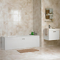 Illusion Cappuccino Gloss Patterned Marble effect Ceramic Floor tile, Pack of 10, (L)360mm (W)275mm