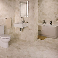 Illusion Cappuccino Gloss Patterned Marble effect Ceramic Wall & floor Tile, Pack of 10, (L)360mm (W)275mm