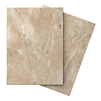 Illusion Mocha Gloss Marble effect Ceramic Floor tile, Pack of 10, (L)360mm (W)275mm