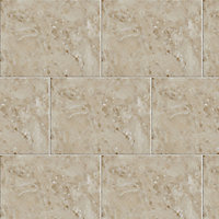 Illusion Mocha Gloss Marble effect Ceramic Wall & floor Tile, Pack of 10, (L)360mm (W)275mm
