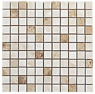 Illusion Natural Stone effect Mosaic Ceramic Mosaic tile, (L)300mm (W)300mm