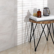 Illusion White Gloss Patterned Marble effect Ceramic Wall & floor Tile, Pack of 10, (L)360mm (W)275mm
