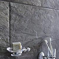 Indus Dark grey Matt Patterned Stone effect Porcelain Wall & floor tile, Pack of 6, (L)600mm (W)300mm