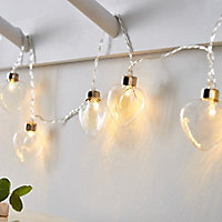 Inlight Clear glass heart Battery-powered Warm white 10 LED Indoor String lights