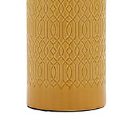 Inlight Dactyl Embossed ceramic Ochre Cylinder Table light