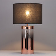 Inlight Erinome Ombre Amber & dark grey Copper effect Cylinder Table light