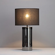 Inlight Erinome Ombre Smoke Nickel effect Cylinder Table light