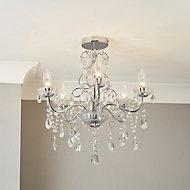 Intelli Chandelier Transparent Chrome effect 5 Lamp Bathroom Ceiling light