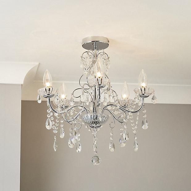 Intelli Chandelier Transpa Chrome, Bathroom Chandelier Lamp