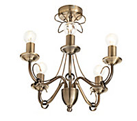Inuus Chandelier Antique brass effect 5 Lamp Ceiling light