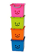 Iris Children's smiley Blue 30.6L Plastic Stackable Storage box