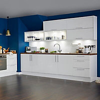 IT Kitchens Gloss White Slab Clad on wall panel (H)790mm (W)385mm
