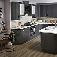IT Kitchens Santini Gloss Anthracite Slab Pan drawer front & bi-fold door, (W)600mm