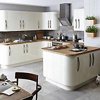 IT Kitchens Santini Gloss Cream Slab Tall Appliance & larder Wall end panel (H)900mm (W)335mm