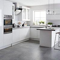 IT Kitchens Santini Gloss White Slab Pan drawer front & bi-fold door, (W)600mm