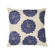 Jade Floral Blue & white Cushion (L)50cm x (W)50cm
