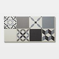 Jazy Beige & grey Patterned Mosaic effect Click fitting system Vinyl tile, Sample