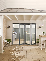 Jeld-Wen Bedgebury Clear Glazed Grey Hardwood Reversible External Folding Patio Door set, (H)2094mm (W)2994mm