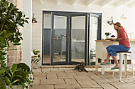 Jeld-Wen Bedgebury Clear Glazed Grey Hardwood Reversible External Folding Patio Door set, (H)2094mm (W)2994mm