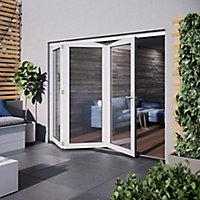 Jeld-Wen Bedgebury Clear Glazed White Hardwood Reversible External Folding Patio Door set, (H)2094mm (W)1794mm