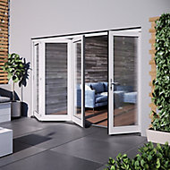Jeld-Wen Bedgebury Clear Glazed White Hardwood Reversible External Folding Patio Door set, (H)2094mm (W)2994mm