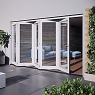 Jeld-Wen Bedgebury Clear Glazed White Hardwood Reversible External Folding Patio Door set, (H)2094mm (W)3594mm