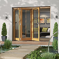 Jeld-Wen Canberra Clear Glazed Golden Oak LH External Folding Patio Door set, (H)2094mm (W)2394mm
