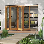 Jeld-Wen Canberra Clear Glazed Golden Oak LH External Folding Patio Door set, (H)2094mm (W)2994mm