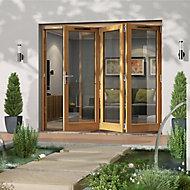 Jeld-Wen Canberra Clear Glazed Golden Oak RH External Folding Patio Door set, (H)2094mm (W)2394mm