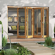 Jeld-Wen Canberra Clear Glazed Golden Oak RH External Folding Patio Door set, (H)2094mm (W)2994mm