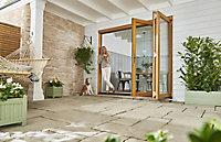 Jeld-Wen Kinsley Clear Glazed Golden Oak Reversible External Folding Patio Door set, (H)2094mm (W)1794mm