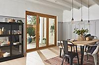 Jeld-Wen Kinsley Clear Glazed Golden Oak Reversible External Folding Patio Door set, (H)2094mm (W)2394mm