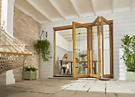 Jeld-Wen Kinsley Clear Glazed Golden Oak Reversible External Folding Patio Door set, (H)2094mm (W)2994mm