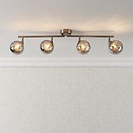 Jola Nickel effect Mains-powered 4 lamp Spotlight bar