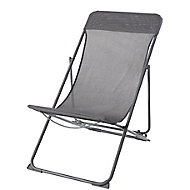 Joline Steel grey Metal Deck Chair
