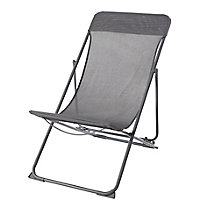Joline Steel grey Metal Deck Chair