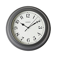 Jones Can Contemporary Grey Quartz Clock