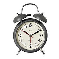 Jones Twin bell Grey Quartz Alarm clock