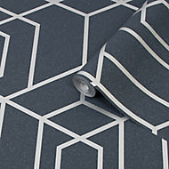 Julien MacDonald Disco vogue Navy Geometric Silver effect Smooth Wallpaper
