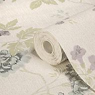 Julien MacDonald Exotica Duck egg & lilac Floral & birds Glitter effect Textured Wallpaper