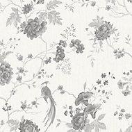 Julien MacDonald Exotica White Floral & birds Silver effect Textured Wallpaper