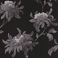 Julien MacDonald Fabulous Black & grey Floral Glitter effect Smooth Wallpaper