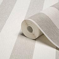 Julien MacDonald Glitterati White Striped Silver glitter effect Textured Wallpaper