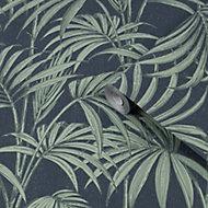Julien MacDonald Honolulu Green & navy Leaves Glitter effect Smooth Wallpaper