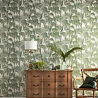 Julien MacDonald Honolulu Palm green Foliage Glitter effect Textured Wallpaper