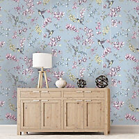 K2 Blue Floral & hummingbird Glitter effect Smooth Wallpaper