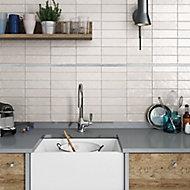 Karat Grey Flat Glass Border tile, (L)600mm (W)20mm