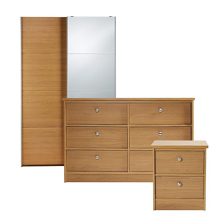 Kendal Matt Oak Effect 3 Piece Bedroom, White Bedroom Furniture Sets B Q