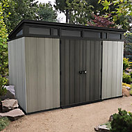 Keter Artisan 11x7 Pent Tongue & groove Grey Plastic Shed with floor