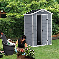 Keter Manor 4x3 Apex Grey Plastic Shed (Base included)